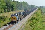 CSX SD70MAC 4529 moves iron ore empties north toward Columbus, OH.