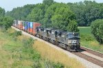 NS  C40-9W 9675 and 3 mates make time with a stack train out of Columbus, OH.