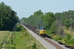 CSX AC44CW 497 moves a loaded iron ore train south toward Circleville, OH on a hot summer afternoon.