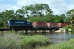 FEC GP40-2 416 rolls southbound empties into New Smyrna Beach.