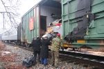 Wjhat its all about. Marines accepting and loading donations onto the train
