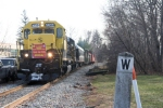 On a cool crisdp December morning, NYS&W WSPX special arrives  in town