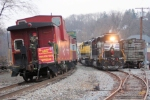 NS and NYS&W power run around the Toys 4 Tots train prior to heading east back to Ridgefield Park.
