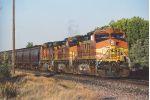 Westbound grain train waits to enter yard