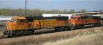 BNSF Ethanol push pull train flying by Newport MN on April Fools day in 2012.