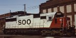 A Soo Line SD60 at the Minneapolis MN Soo Line Shoreham Shops in 1999.