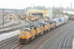 UP 4085 and SD70M brethern are shoving about 10,000' of train into the Port of Long Beach/Wilmington