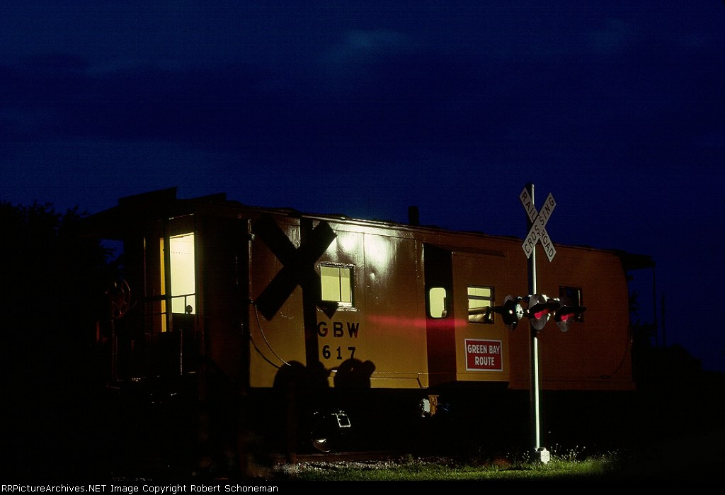 GB&W Caboose 617 evening rest at Plover, WI  8-05-06