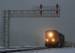 CN T199 WB Cosco stack train in dense fog and light snow 9am