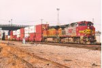 Eastbound intermodal exits Northtown Yard