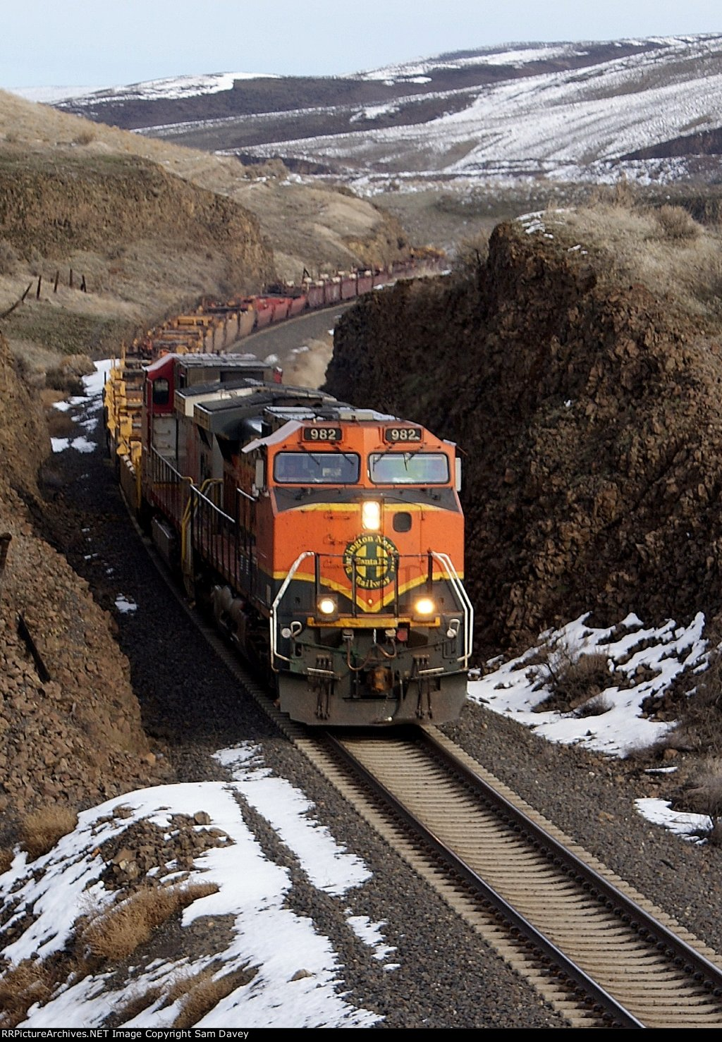 BNSF 982 leads a Baretable train West.
