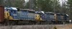 A trio of CSX GP40-2's hold the siding
