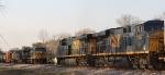 CSX 5241 leads train Q172 north past a meet with Q491