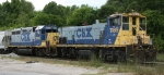 CSX 1189 & 6020 lead a train out of the yard