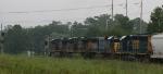 CSX 5374 leads train Q410 towards the signals at Hanahan