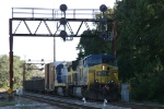 CSX 636 leads a northbound train out of Bennett Yard