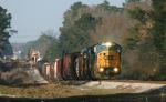 CSX 8745 leads train Q491 towards the signals at Meads