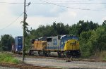 CSX 8780 & UP 9460 are tied down with a train for the port