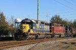 CSX 8482 leads a train southbound