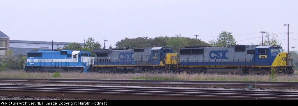 CSX 8779 is awaiting its next assignment in the yard