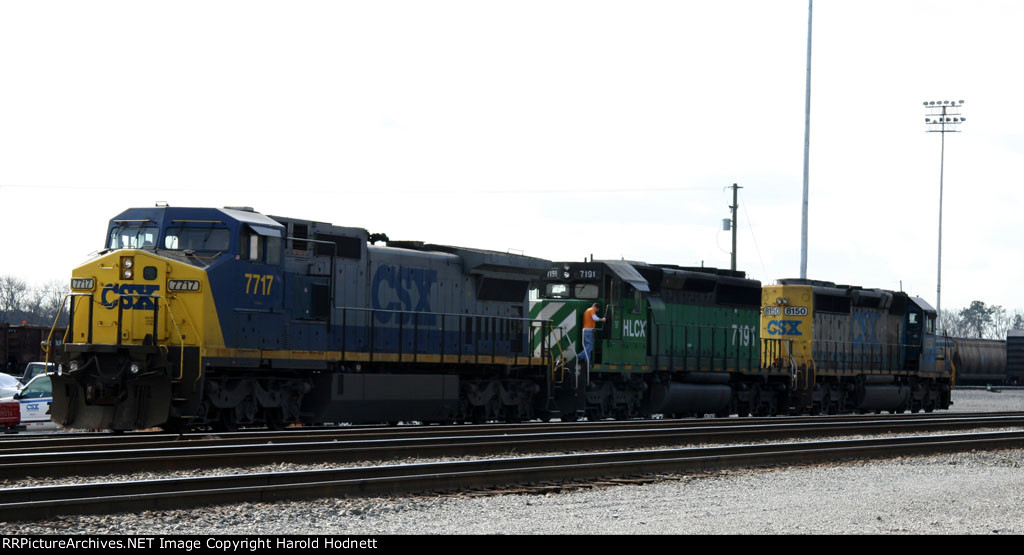 CSX 7717 and mates are being checked out in the yard
