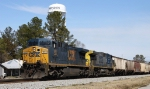 CSX 596 leads grain train G086-05 southbound