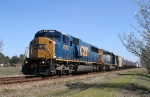 CSX 8722 & 8134, both freshly painted, head south