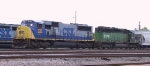 CSX 721 works the yard with a lease unit