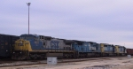CSX 7777 and 3 other units await to leave the yard