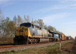 CSX 619 leads a train southbound