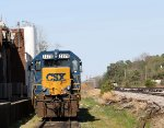 CSX 2278 sits in siding with MOW cars on main track