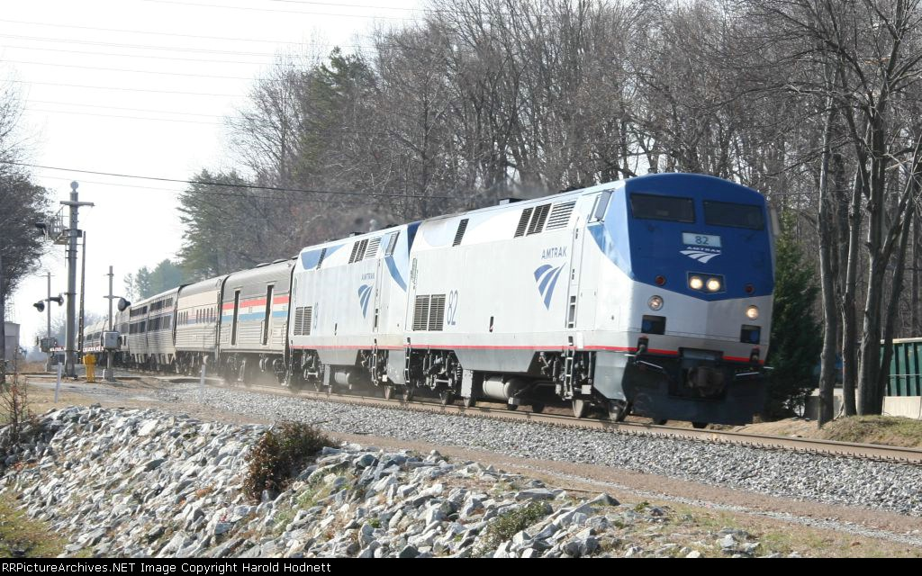 Amtrak 82 leads train 20, the Crescent, in a late appearance