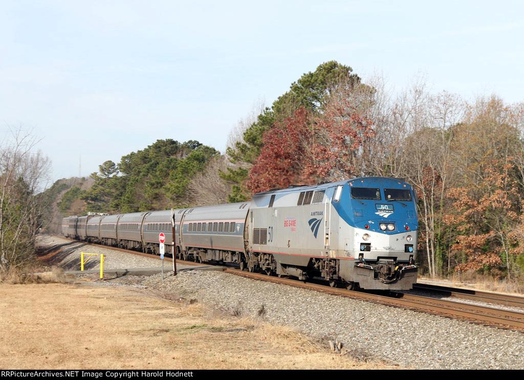 AMTK 50 leads train P092 northbound