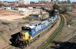 CSX 7614 & 7509 lead train F741-27 out of town