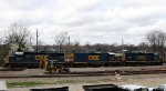 CSX 6915, 2342, & 6559 sit beside the turntable