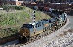 CSX 3351 & 5318 lead train F741-17 past the signal