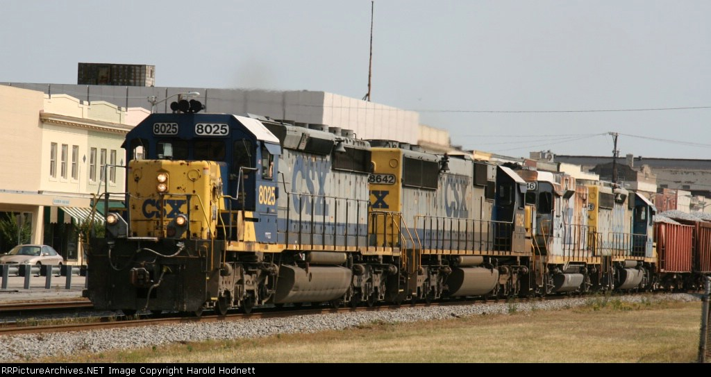 CSX 8025 leads a variety of units on train F018
