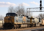 CSX 584 & 682 lead train Q410 past the signals at Charlie Baker