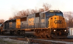 The sun is fading fast as CSX 8731 leads train Q405-03 and its 135 cars into the yard