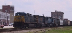 CSX 26 leads a nortbound train past downtown