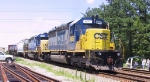 CSX 8887 & 8160 lead a southbound train into North Collier Yard