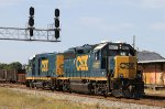 CSX 6927 & 2326 pass under the signals at Charlie Baker