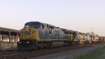 CSX 9016 leads four other locos on a train southbound