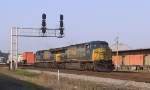 CSX 691 & 698 lead a northbound train past the signals at Charlie Baker
