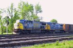 CSX 661 & 7843 lead a northbound train out of the yard