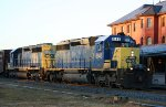 CSX 8143 & 8440 lead a train northbound early in the morning