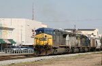 CSX 321 leads a loaded grain train southbound