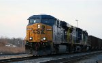 CSX 5296 leads an empty coal train northbound at Charlie Baker