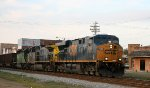 CSX 5296 leads an empty coal train through town
