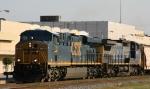 CSX 726 leads train G354 south with a grain train